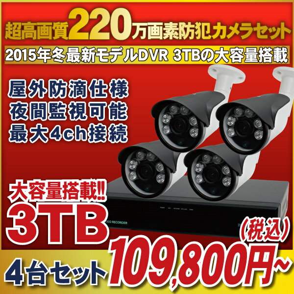 【最前線モデル!】220万画素HD-SDIカメラと高機能なHD-SDI録画機のフルセット! 【官公庁/銀行様納入実績】4chデジタルレコーダー1080p対応 [録画機1台 HDD大容量3TB]・防滴仕様 夜間監視可能な赤外線LED搭載 [HD-SDIカメラ4台]セット【5H321-3TB/HR271/AD121/HA3C】:防犯カメラの塚本無線