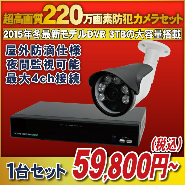 【最前線モデル!】220万画素HD-SDIカメラと高機能なHD-SDI録画機のフルセット! 【官公庁/銀行様納入実績】4chデジタルレコーダー1080p対応 [録画機1台 HDD容量1TB]・防滴仕様 夜間監視可能な赤外線LED搭載 [HD-SDIカメラ1台]セット【5H321-1TB/HR271/AD121/HA3C】:防犯カメラの塚本無線
