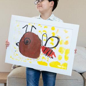 子供の絵を飾る 画用紙専用ペーパーフレーム 四つ切りサイズをそのまま飾れる 絵画教室 幼稚園 学校 工作 紙の額縁 四つ切り画用紙 WY
