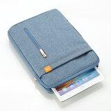 WY iPad タブレットPC 収納ケース バッグ ブルー 10.8型までのタブレット対応 持ち手 小物ポケット付