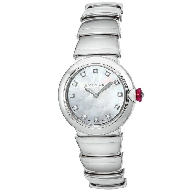 ブルガリ BVLGARI 腕時計 レディースウォッチ LU28WSS/12 ルチェア 12ポイントダイヤ パールシェル×シルバー 28mmの画像