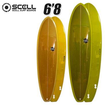 サーフボード ファンボード 6'8 SCELL サーフィンオリーブ マスタード 2トーンカラー 特典付き 希望小売価格の60%OFF 新作