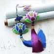 中国民族風蓮の花刺繍飾りインテリアストラップ車飾り