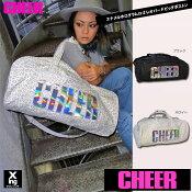 【CHEER】エナメルホログラムロゴレオパード柄BIGボストンバッグ