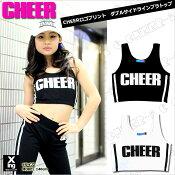 【CHEER】CHEERロゴプリントダブルサイドラインブラトップ(胸パッド取り外し可能)