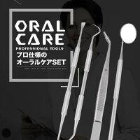 オーラルケアデンタルケア歯ツール歯石取り4点セットスケーラーピンセットミラー虫歯予防Y150
