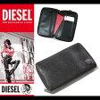 ディーゼル DIESEL 財布 長財布 ラウンドファスナー ダブルジップ パスポートケース 本革 X03264 P0093 T8013 ブラック
