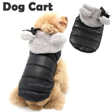 【定番】犬 犬服 冬 小型犬 フード付き シンプル コート アウター ドッグウエア S M L ブラック