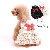 新作犬服犬服花柄リボン付きワンピース薄手ホワイトブラック