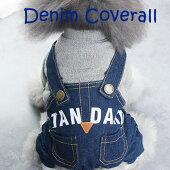 新作犬服犬服小型犬デニム重ね着風カバーオールつなぎドッグウエアXSSMLXL