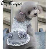 新作犬服犬服コサージュ付き重ね着風ワンピースドッグウエアSMLXL