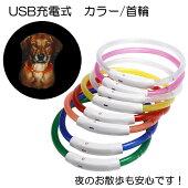 【35cm/50cm】2タイプ夜のお散歩も安心USB充電式LEDカラー首輪カラーライトカラー光る首輪首輪USB充電式夜のお散歩小型犬中型犬