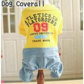 新作犬服犬服小型犬デニムズボンカバーオールつなぎドッグウエアXSSMLXLイエロー