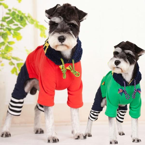 ★お買い得品★犬 服 犬服 小型犬 カバーオール カジュアル つなぎ ズボン シャツ ドッグウエア S M L XL レッド グリーン