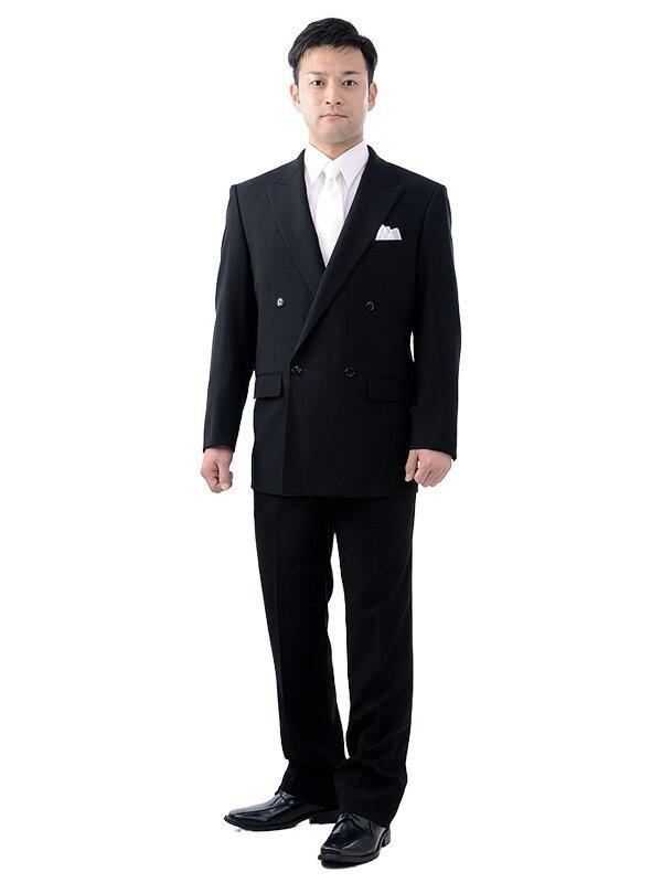 【レンタル】[喪服レンタル][礼服レンタル]レンタル礼服ダブル[ブラックフォーマル][ブラックスーツ][急ぎ][都内即日][メンズスーツ]NAYK002