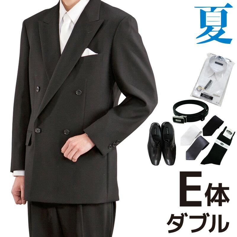 【レンタル】[フルセット][夏用][E体型]夏 ダブル 礼服 レンタル フルセット[レンタル礼服][ブラックフォーマル][レンタルスーツ][ダブル][略礼服][サマーフォーマル][礼装用Yシャツ][礼装用靴][喪服 男性][紳士][fy16REN07][M]