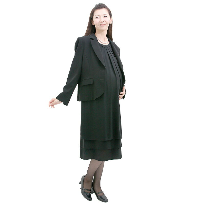 【レンタル】当日発送 [マタニティレンタル][ジャケットセットJK3]礼服 レンタル 喪服 レンタルマタニティブラックフォーマル 3L[黒][ワンピース][マタニティ][マタニティフォーマル][ブラックフォーマル][お通夜][お葬式][法事][即日][礼服]