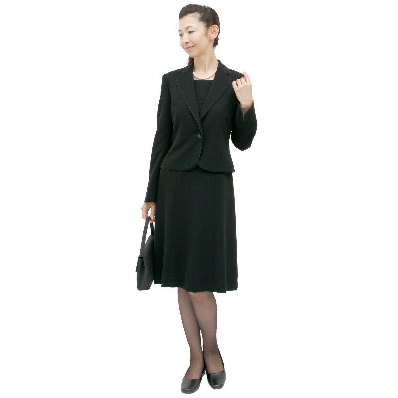 【レンタル】[126]クールで大人可愛いワンピースとジャケットのアンサンブル喪服・礼服(テーラードカラー){11号}{2}{3}{4}{5}5分袖/礼服レンタル/喪服レンタル/レディース/お通夜/法事/卒業式