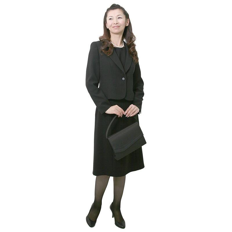 【レンタル】[501] ベーシックなデザインのジャケット・インナー・スカートのスリーピース喪服・礼服(テーラードカラー){11号}{2}{3}{4}{5}{6}5分袖/礼服レンタル/喪服レンタル/レディース/お通夜/法事