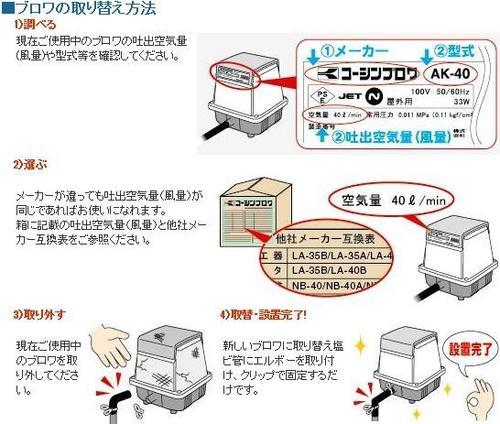 送料無料工進コーシンブロア浄化槽用エアーポンプAK-80ブロワポンプ