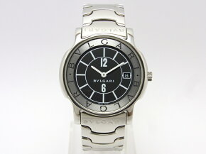 【】【程度A】【仕上げ済み】ブルガリソロテンポメンズST35Sブラック文字盤腕時計