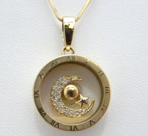 【質屋出品】【】【送料無料】【手数料無料】k18イエローゴールドダイヤモンドネックレス回転式スター星ムーン月デザイン