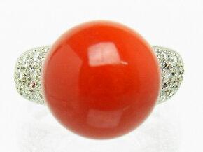 【質屋出品】【】【程度A】プラチナPt900サンゴ珊瑚ダイヤモンド0.27ct