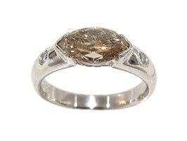 指輪Pt900プラチナダイヤリング合計1.266ct中央ブラウンダイヤモンド1.206ct【中古】【程度A】【質屋出品】【新品仕上げ済み】【ノーブランド】