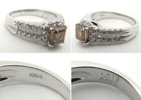 【質屋出品】【中古】【程度A】【ノーブランド】指輪リングK18WGホワイトゴールドブラウンダイヤモンドダイヤモンド