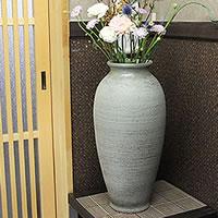 信楽焼古窯櫛目花器!把讓感到安慰的土味道的罐子/罐子/花瓶/花瓶/陶器/花放進去/小花瓶/shigaraki/陶器/室內裝飾/以及和服/陶瓷器[ha-0163]