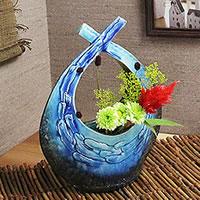 信楽焼清流扁平花器!把讓感到安慰的土味道的罐子/罐子/花瓶/花瓶/陶器/花放進去/小花瓶/shigaraki/陶器/室內裝飾/以及和服/陶瓷器[ha-0167]