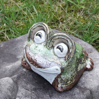 Shin raku pottery laughing eyes frog mini! Good luck frog / garden to the front door before pottery frog! / Ceramics / pottery and while big frog shine / frog / ware and Shigaraki / frog