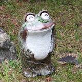信楽焼 立蛙笑い目(小)縁起物カエル お庭に玄関先に陶器蛙 やきもの 陶器 しがらきやき 蛙 陶器かえる 信楽焼カエル ka-0041