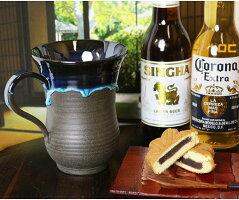 ワンランク上の贅沢がビアカップビールジョッキマグカップ大きいビアマグ皿陶器ギフト贈り物高級品おしゃれ信楽焼湖鏡ko-beercup
