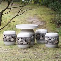 信楽焼ガーデンテーブル/陶器テーブルセット/和風洋風どちらにも! /庭園テーブル/イス/信楽焼...