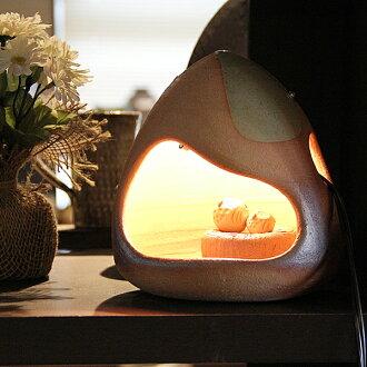 Shin Shigaraki Pottery OWL lighting! Call the happy owls pottery light! Indoor lighting / interior lighting / pottery / OWL Andon and Andon / Shin Raku lighting