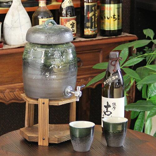 ◆文字入れ可◆2升用信楽焼焼酎サーバー!カップ2客付き! 焼酎が美味しくなると評判の陶器サーバ...