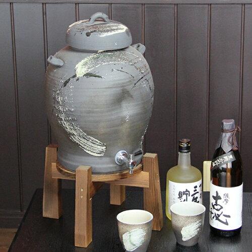 ◆文字入れ可◆5升用信楽焼焼酎サーバー!カップ2客付き! 焼酎が美味しくなると評判の陶器サーバ...