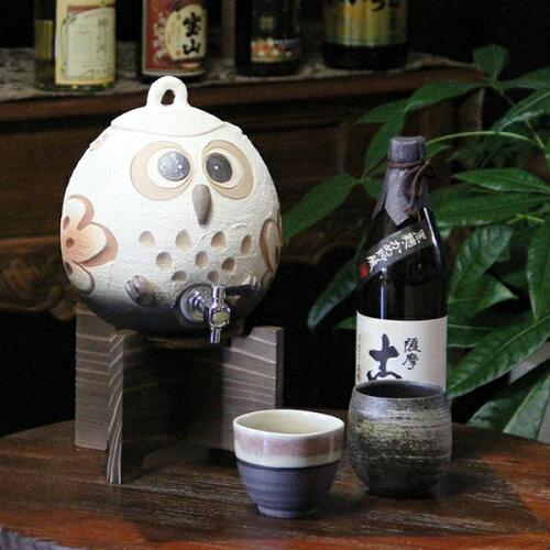 信楽焼まんまるふくろう焼酎サーバー!陶器サーバー/信楽焼サーバー/ふくろう焼酎サーバー/ギフト...
