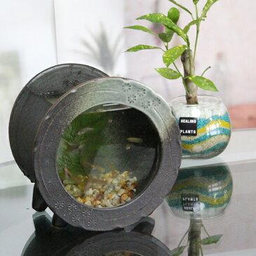 信楽焼 き水槽 丸型小(茶色)陶器水槽 陶器とガラスがコラボ インテリア水槽 金魚鉢 メダカ鉢 陶器 水鉢 めだか鉢 信楽焼金魚鉢 鉢 はす鉢 睡蓮鉢 su-0210