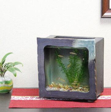 信楽焼 き水槽 角型(茶色)陶器水槽 陶器とガラスがコラボ インテリア水槽 金魚鉢 メダカ鉢 陶器 水鉢 めだか鉢 信楽焼金魚鉢 鉢 はす鉢 睡蓮鉢 su-0124