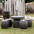 【送料無料】20号信楽焼ガーデンテーブル/陶器テーブル/焼き物/お庭、ベランダ用庭園セット/ガーデンテーブルセット/陶器/イス/信楽焼テーブル/ガーデンセット/屋外用[te-0032]