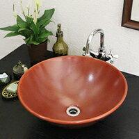 信楽焼き手洗い鉢で洗面台をお洒落に演出!陶器手洗器です。◆送料無料◆土ものの洗面ボウル!...