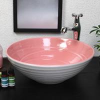 ピンクホワイト(中型)手洗い鉢
