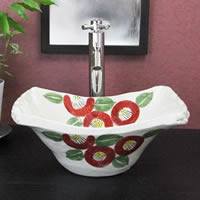 椿絵長角型手洗い鉢
