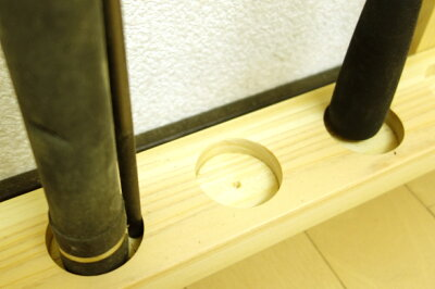 【家具職人の作ったロッドスタンド】RS-51ピース用標準穴10本用ヒノキ無垢材使用受注生産品送料1000円(全国一律)