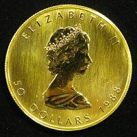 【純金】カナダメイプルリーフ金貨24金1オンス(31.1g)50ドル金貨1988年【金貨】