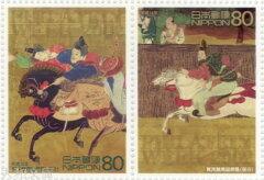 【記念切手】切手趣味週間 加茂競馬図屏風(部分) 2002年 (平成14年)【切手シート】