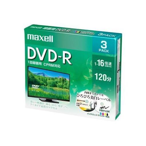 録画・録音用メディア, DVDメディア (Maxell) DRD120WPE3S DVD-R 1-16 4.7GB 3 5mm