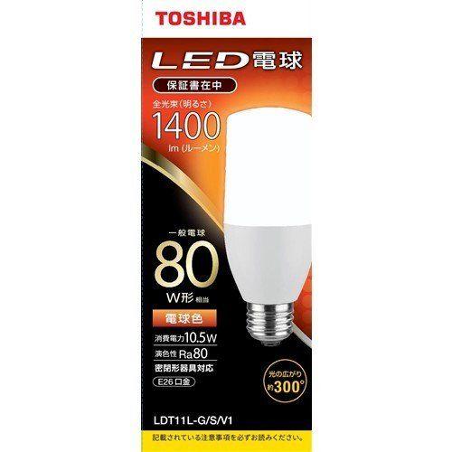 東芝 () () LED電球T形80W形相当 電球色 口金E26 LDT11L-G S/V1